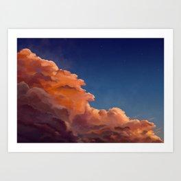 orange clouds under the stars Art Print