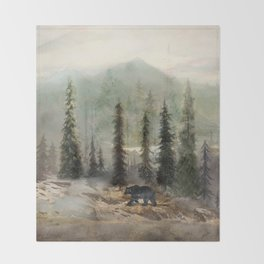 Mountain Black Bear Throw Blanket