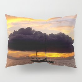 Tahiti Tropical Sunset over Sailboat Pillow Sham