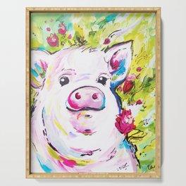 Floral Garden Piglet Serving Tray