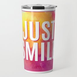Just Smile motivation square watercolor stroke poster. Text lettering of an inspirational saying. Qu Travel Mug