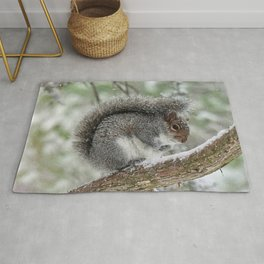Gray Squirrel Curling Its Tail in a Snowstorm Rug