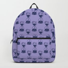 Hour Glass Pattern with Skeleton Hand and Skull (Lavender and Blue color) Backpack