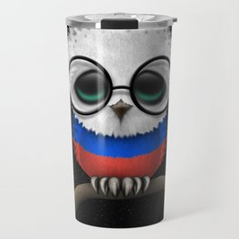 Baby Owl with Glasses and Russian Flag Travel Mug