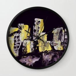 Yellow Purple Cityscape Wall Clock
