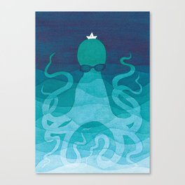 Octopus, sea creature, animals, ocean watercolor teal blue Canvas Print