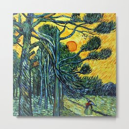 Pine Trees against a Red Sky with Setting Sun by Vincent van Gogh Metal Print