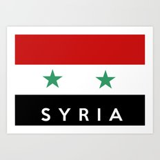 Syria country flag name text Art Print