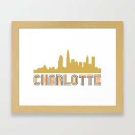 Vintage Style Charlotte North Carolina Skyline Framed Art Print