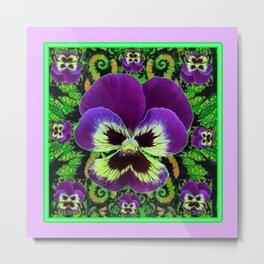Lilac  Color Purple PANSY Green Garden art Metal Print