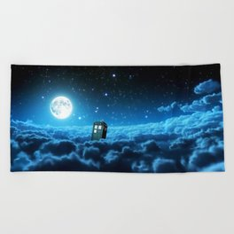 Tardis Cloud And Moon Beach Towel
