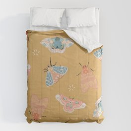 Moths Pattern - Pastels - Yellow Comforters