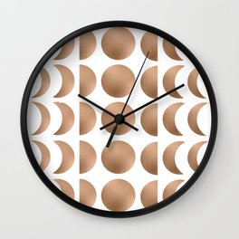 Rose Gold Moon Phase Pattern Wall Clock