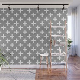 Crosses | Criss Cross | Plus Sign | Hygge | Scandi | Grey and White | Wall Mural