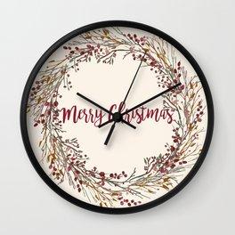 Merry Christmas Wreath Wall Clock