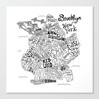 brooklyn Canvas Prints featuring Brooklyn Map by Claire Lordon