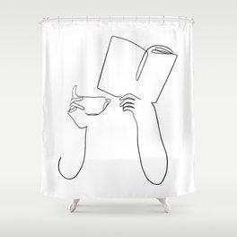Book & Coffee Shower Curtain
