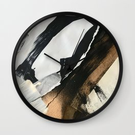 Stay | Collage Series 2 | mixed-media piece in gold, black and white + book pages Wall Clock