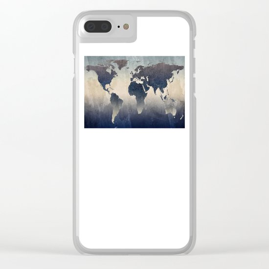 World Map Gray Clear iPhone Case