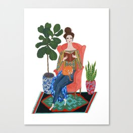 Cat lady reading Canvas Print