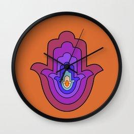 Hand of Fatima - Hamsa Hand - Orange Wall Clock