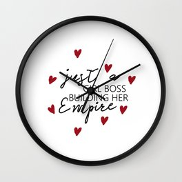 MOTIVATIONAL - Just a girl boss building her empire - Quote Prints, Digital Download Wall Clock