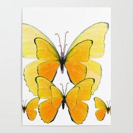 MODERN ART YELLOW BUTTERFLIES ABSTRACT Poster