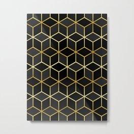 Black squares with gold Metal Print