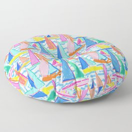 Painterly Sailboat Regatta in White Floor Pillow