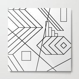 Normality - Black and white abstract geometric minimalism Metal Print