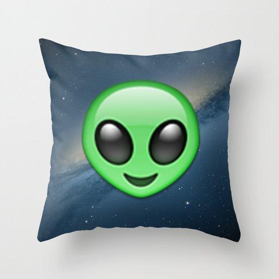 Throw Pillows Elegant : Alien Emoji Throw Pillow by Nolan Dempsey Society6