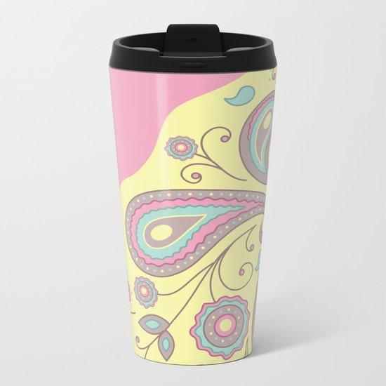 Paisley Pink Pattern Metal Travel Mug