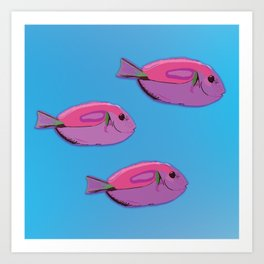 Pink tropical fishes Art Print