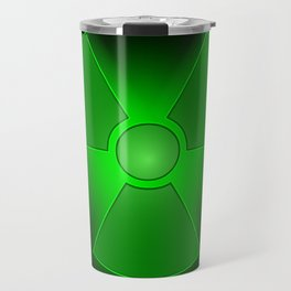 Funny green glowing radioactivity symbol Travel Mug