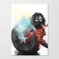 winter soldier Canvas Prints featuring Winter Soldier by Alba Palacio