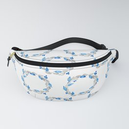 Blue and Gray Watercolor Leaf Wreath Fanny Pack