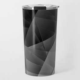 Metal sharp pattern of chaotic black and white fragments of glass, foil, highlights silver ingots. Travel Mug