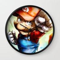 super mario Wall Clocks featuring Super Mario by markclarkii