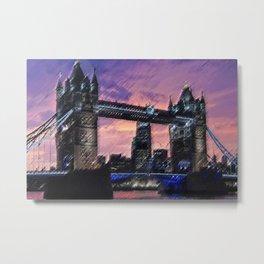 Tower Bridge, London at Sunset Landscape Painting by Jeanpaul Ferro Metal Print