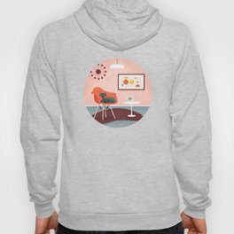 Midcentury Coral Decor With Black Cat And Gold Fish Hoody