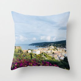 Spanish Coast | Costa Brava Cadaques Coastal Mediterranean Village Riviera Art Throw Pillow