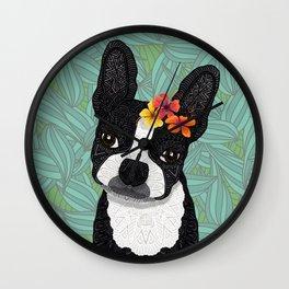Tropical Boston Terrier Girl Wall Clock