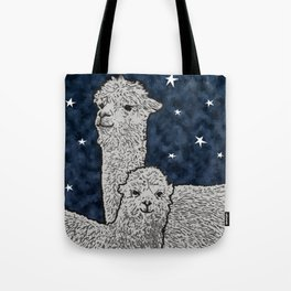 Alpacas on a starry night Tote Bag