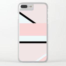 Blush Pink Geometric Clear iPhone Case
