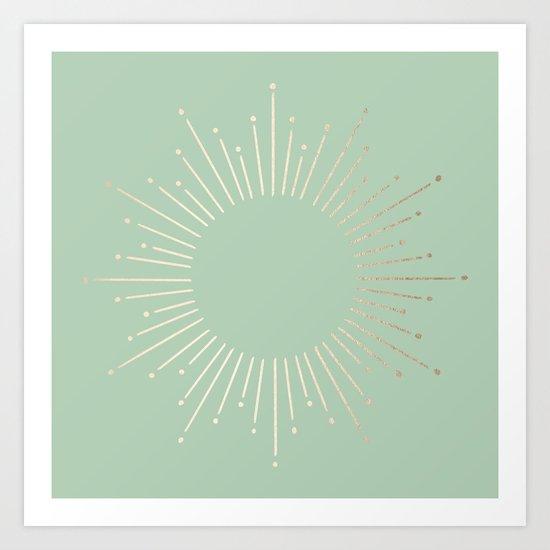 Simply Sunburst in Pastel Cactus Green Art Print