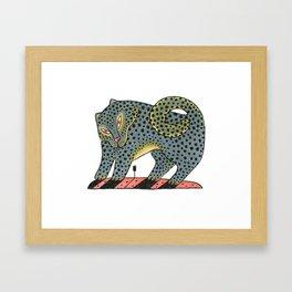 Leopard Dog With Tulip Framed Art Print