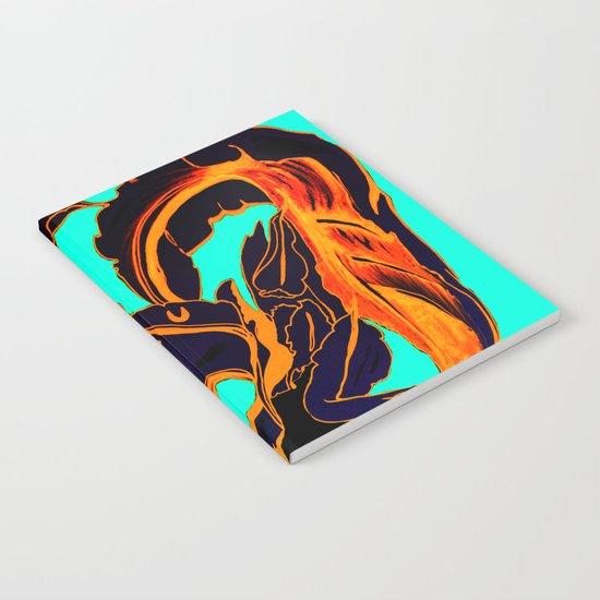 Blue Marker Teal Fire Phoenix Notebook