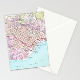 Vintage Map of Santa Barbara California (1952) Stationery Cards