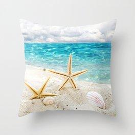 seashell and sea Throw Pillow