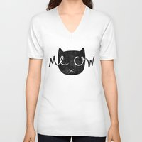 meow V-neck T-shirts featuring Meow by Laura O'Connor